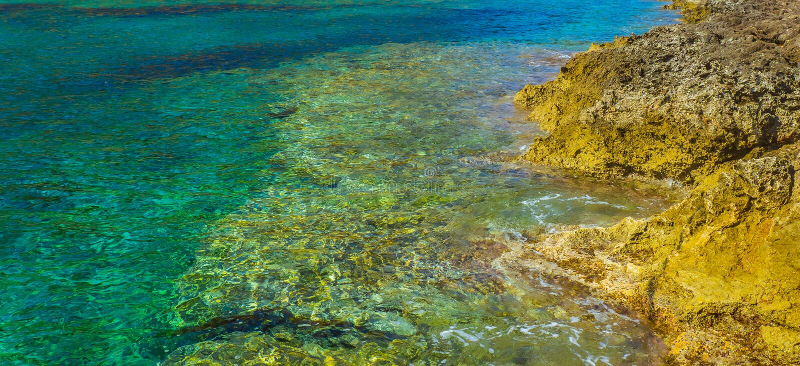 Água claro de turquesa perto da costa amarela da rocha imagem de stock royalty free