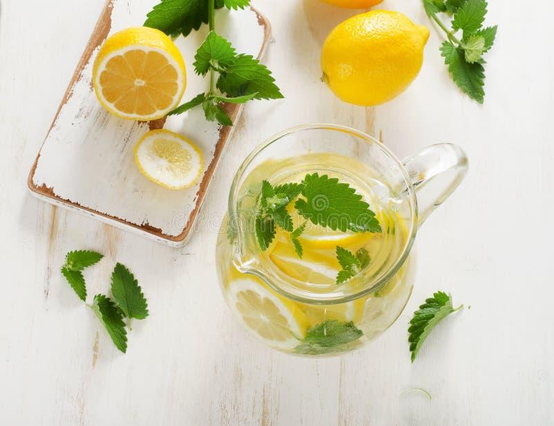 Água com as folhas frescas do limão e de hortelã foto de stock