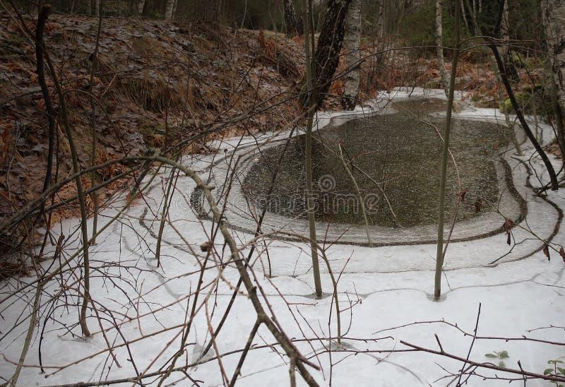 Água congelada em uma grande vala foto de stock royalty free