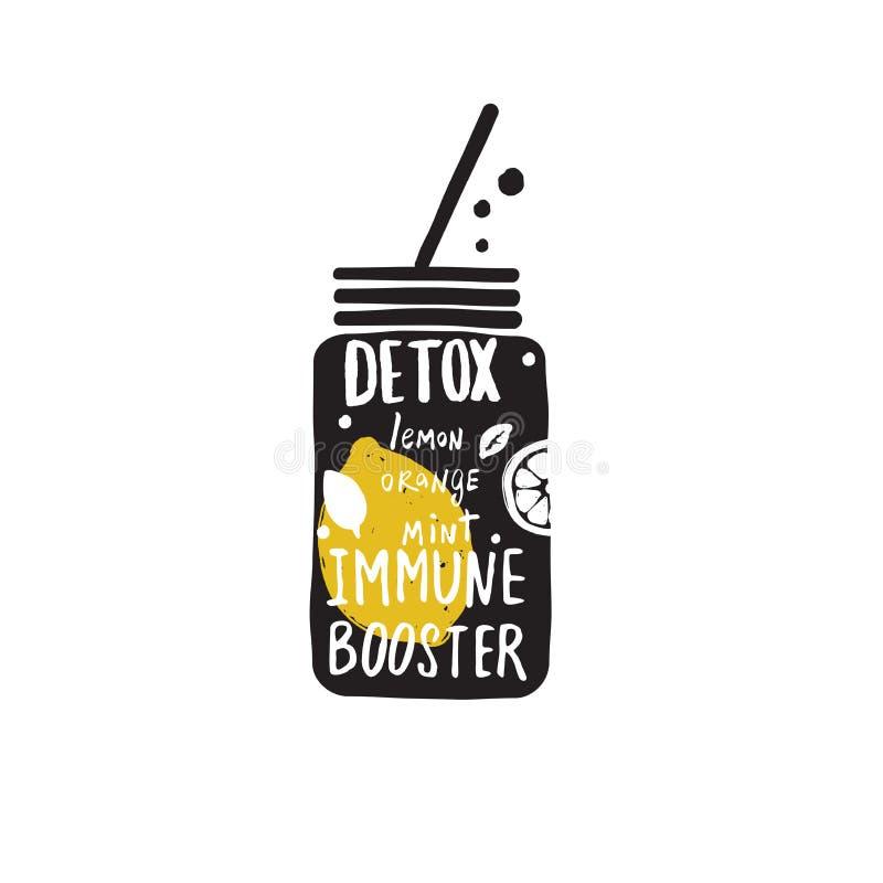 Água da desintoxicação Entregue a ilustração tirada do vetor do frasco com rotulação ilustração stock