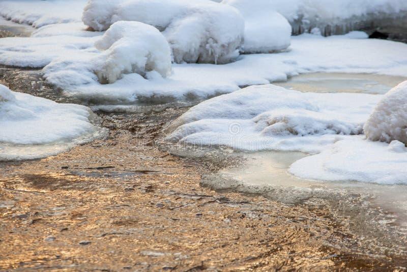 Água de fluxo com gelo e neve fotografia de stock royalty free