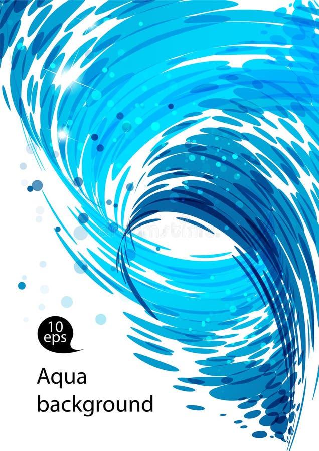 Água de fluxo, fundo azul abstrato ilustração stock