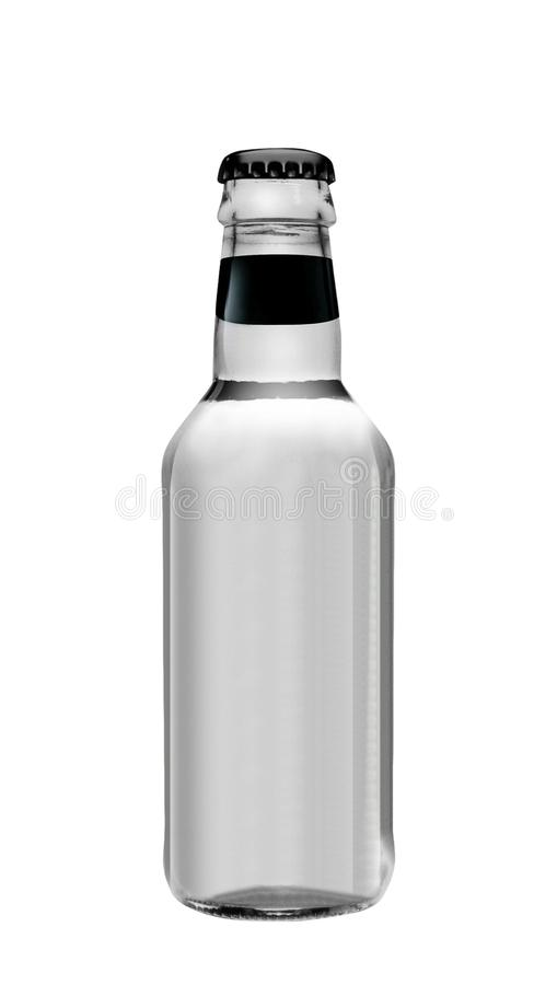 Água de soda na garrafa de vidro isolada no branco fotografia de stock royalty free