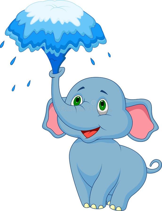 Água de sopro dos desenhos animados bonitos do elefante fora de seu tronco ilustração do vetor