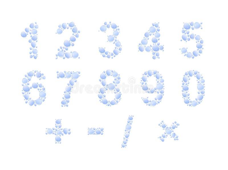A água deixa cair números ilustração royalty free