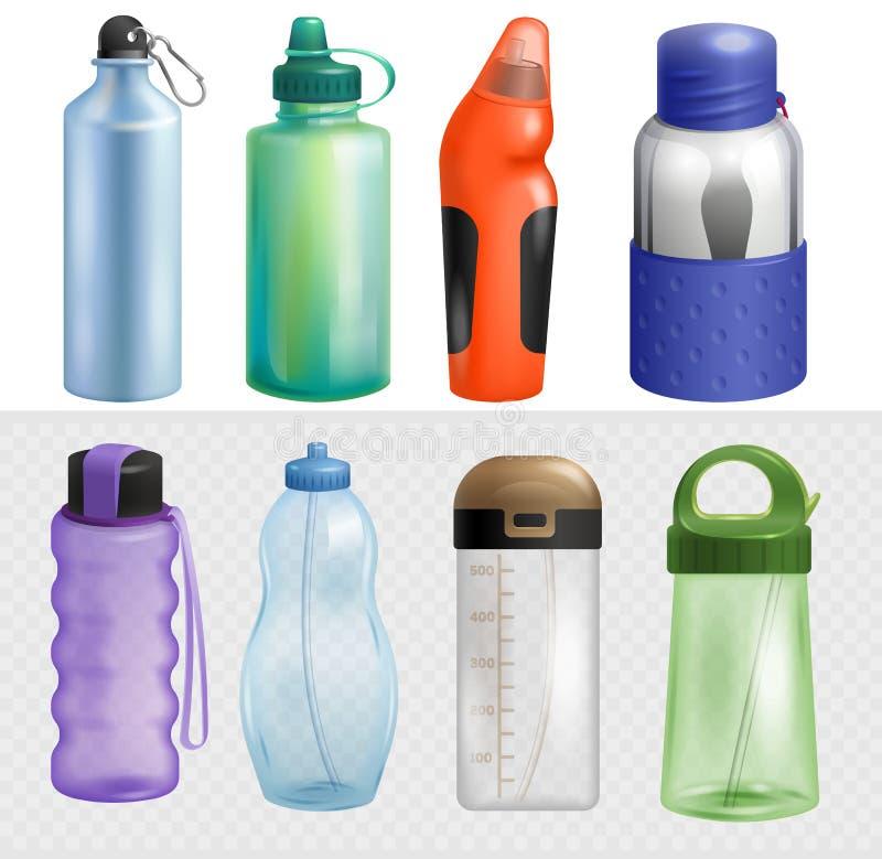 A água desportivo do vetor da garrafa do esporte engarrafou a bebida thermo e a bebida plástica da energia da aptidão com ilustra ilustração stock