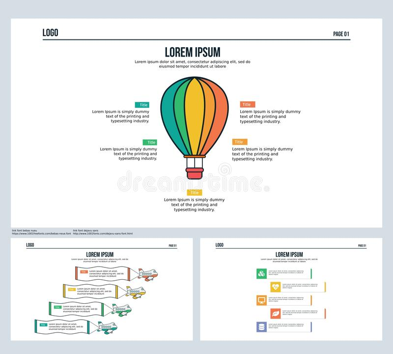 A água do Ballon, plano, ajustou a corrediça da apresentação e o molde de PowerPoint imagem de stock