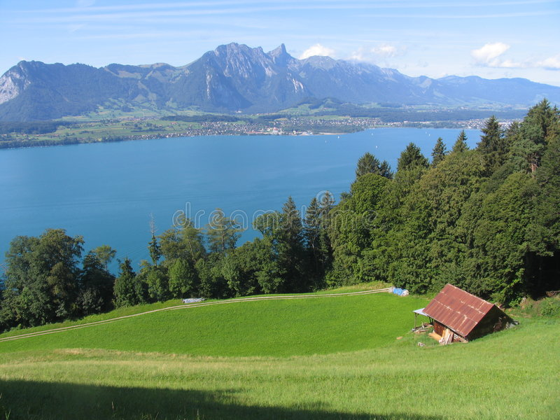 Água do campo do lago Thun fotografia de stock royalty free