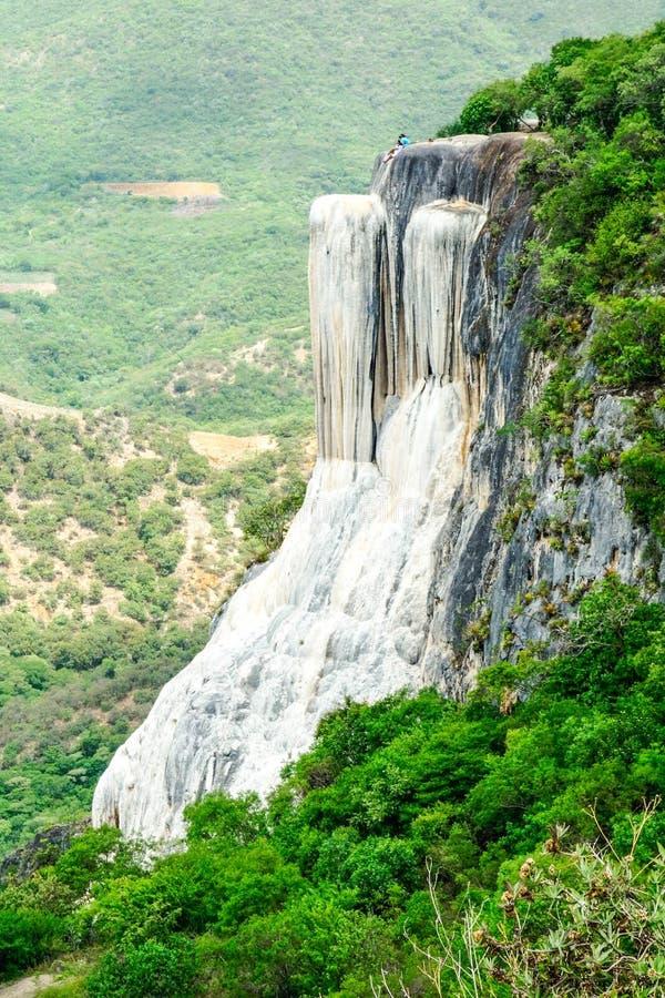 Água do EL de Hierve Cachoeira Petrified em Oaxaca, México imagem de stock