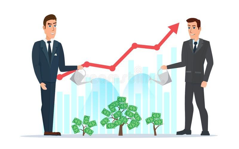 A água do homem de negócios as plantas com o gráfico do dinheiro aumenta Negócios ilustração do vetor