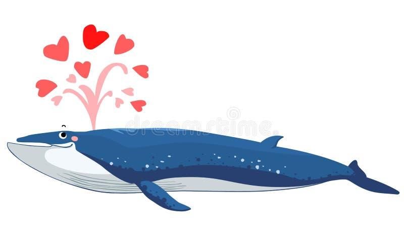 Água do jato da baleia de Bryde com coração ilustração stock