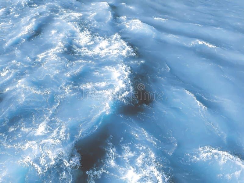 Água do mar azul abstrata com espuma branca para o fundo foto de stock