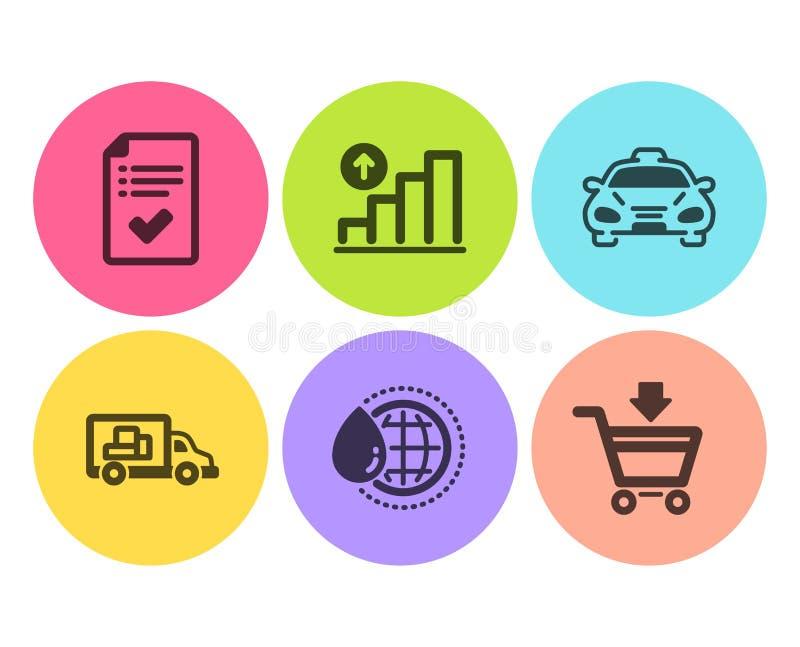 Água do mundo, transporte do caminhão e de ícones do táxi grupo Carta do gráfico, lista de verificação aprovada e sinais em linha ilustração do vetor