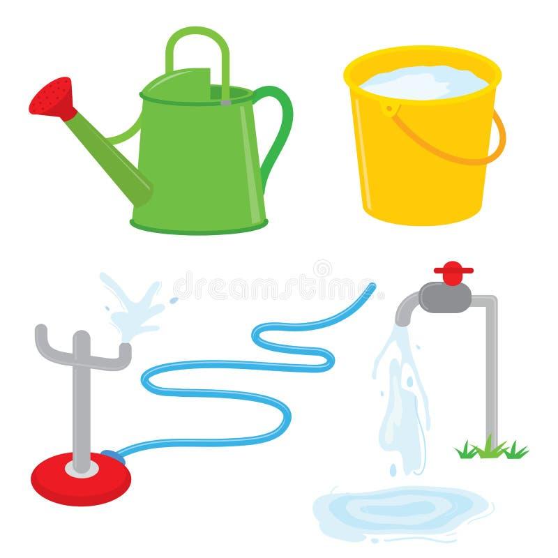 A água do torneira da lata molhando de equipamento de jardinagem polvilha o vetor ilustração stock