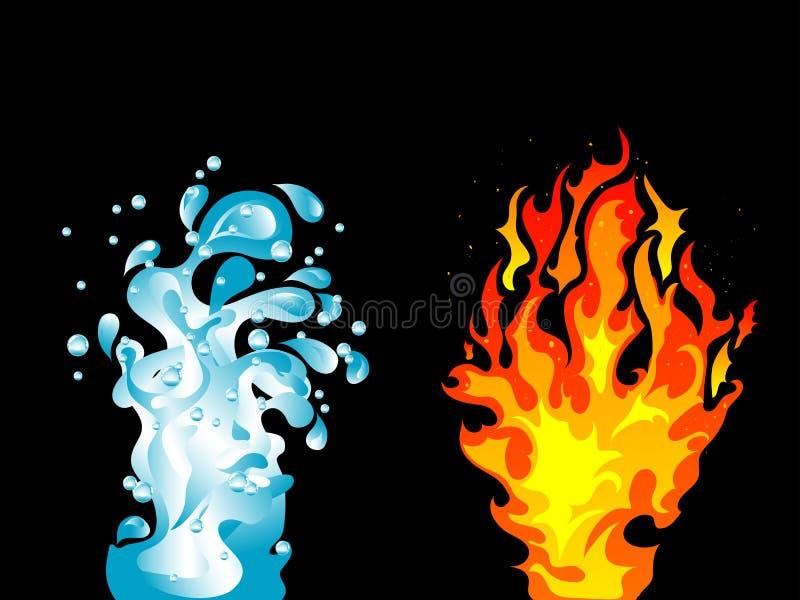 Água e fogo ilustração stock