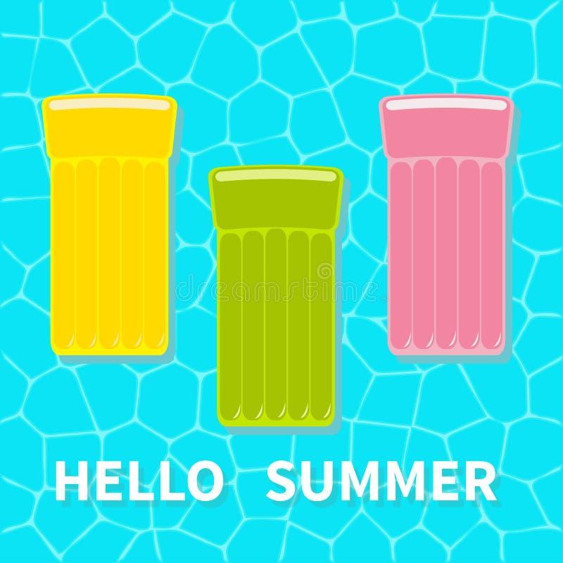 Água e guarda-chuvas A associação de flutuação do ar do rosa do verde amarelo flutua o colchão da água Vista aérea superior Olá!  ilustração stock