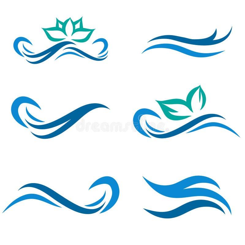 Água e termas Logo Set ilustração stock