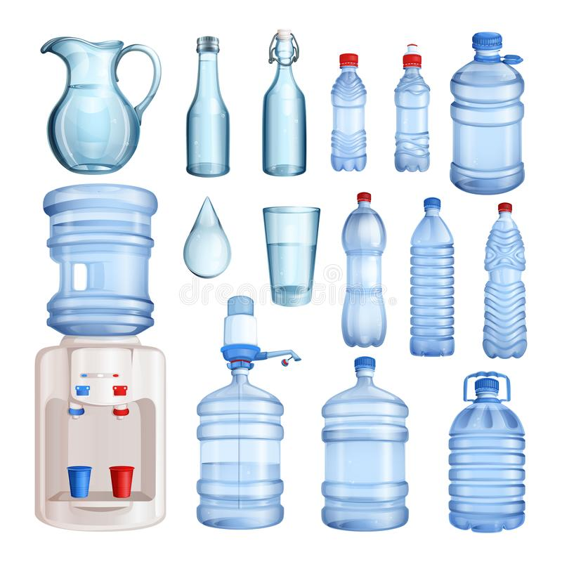 Água em umas garrafas plásticas e de vidro O vetor isolou os objetos ajustados Ilustração pura da água mineral ilustração stock