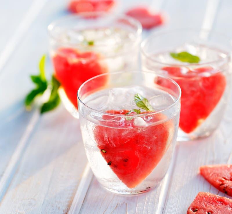 Água flavored de refrescamento com melancia e hortelã imagens de stock royalty free