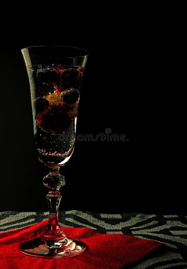 Água gasosa com fruto em um vidro imagem de stock