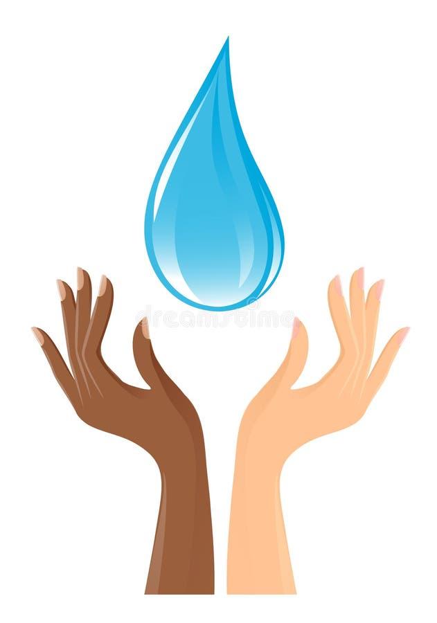 Água-gota e mãos ilustração stock