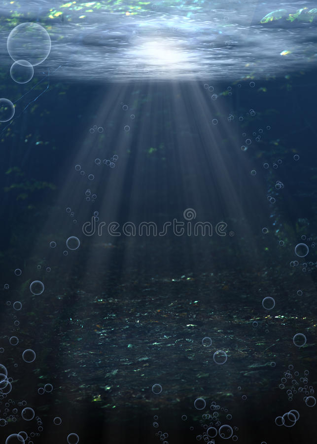 Água inferior de rio ilustração stock