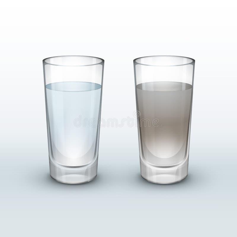 Água limpa, suja ilustração do vetor