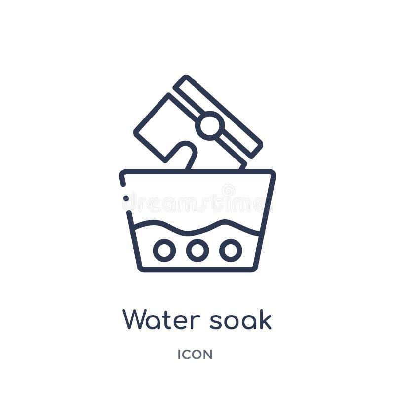 A água linear embebe o ícone da coleção de limpeza do esboço A linha fina água embebe o vetor isolada no fundo branco a água embe ilustração royalty free