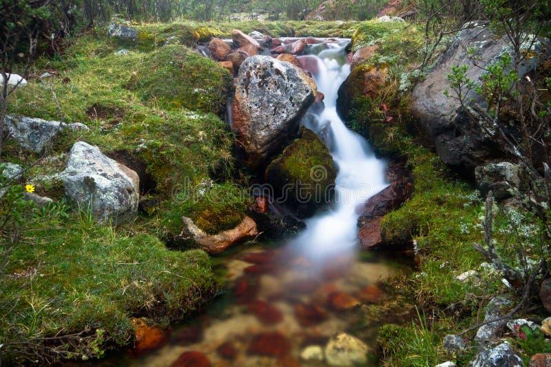 Água lisa no Quebrada Cojup, BLANCA de Cordilheira, Peru imagem de stock royalty free
