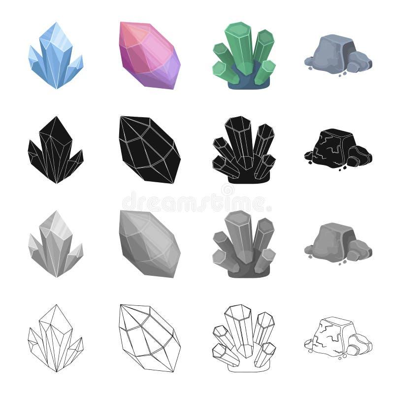 Água-marinha mineral azul, ametista cor-de-rosa, jade precioso, minério de ferro Os ícones ajustados da coleção de mineral precio ilustração royalty free