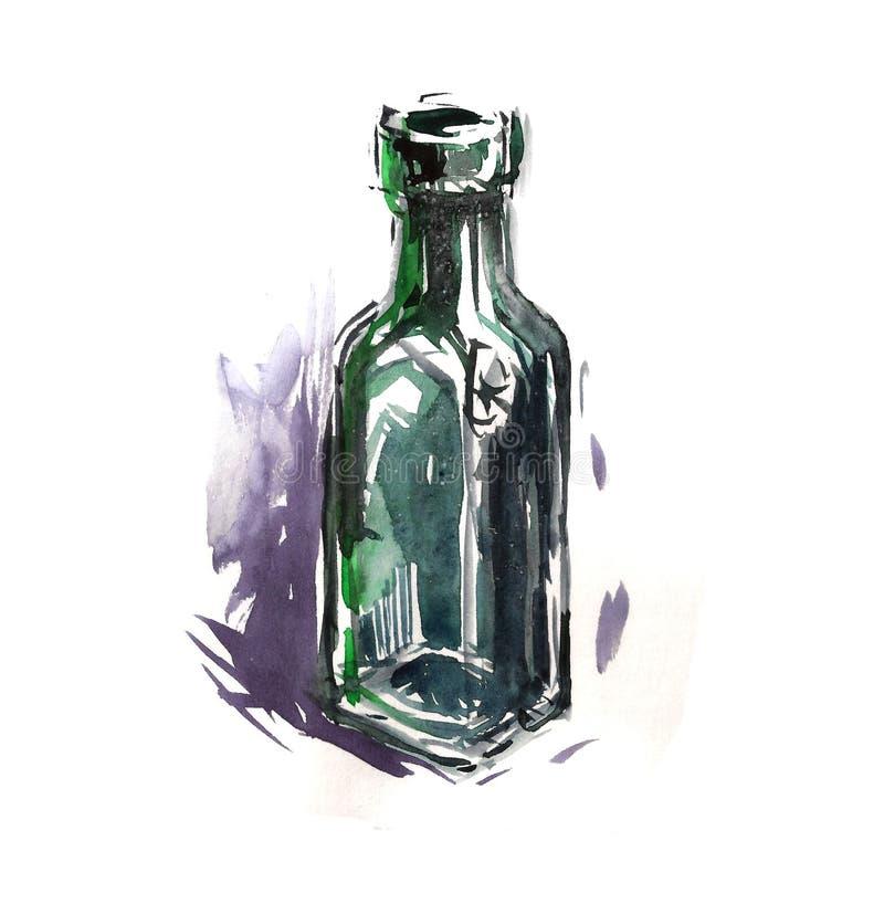 Água mineral do vidro bottle imagens de stock