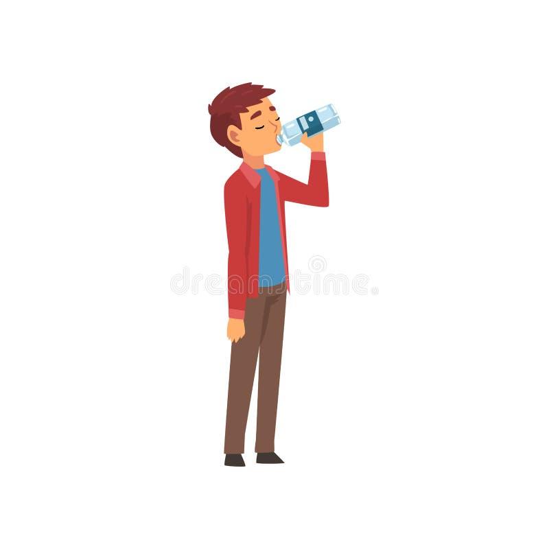 Água potável do menino da garrafa plástica, criança que aprecia beber da ilustração fresca do vetor da agua potável ilustração do vetor
