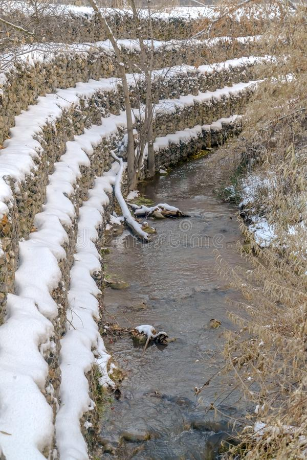 Água pouco profunda que flui em uma angra rochosa com as árvores vistas no inverno foto de stock
