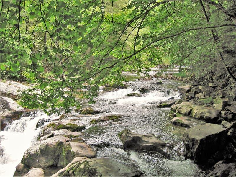 Água que conecta sobre rochas na angra de Cades fotografia de stock