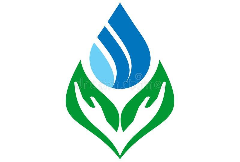 A água sae do logotipo da mão ilustração stock