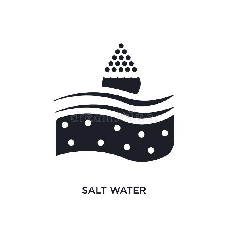 água salgada preta ícone isolado do vetor ilustração simples do elemento dos ícones náuticos do vetor do conceito logotipo editáv ilustração royalty free