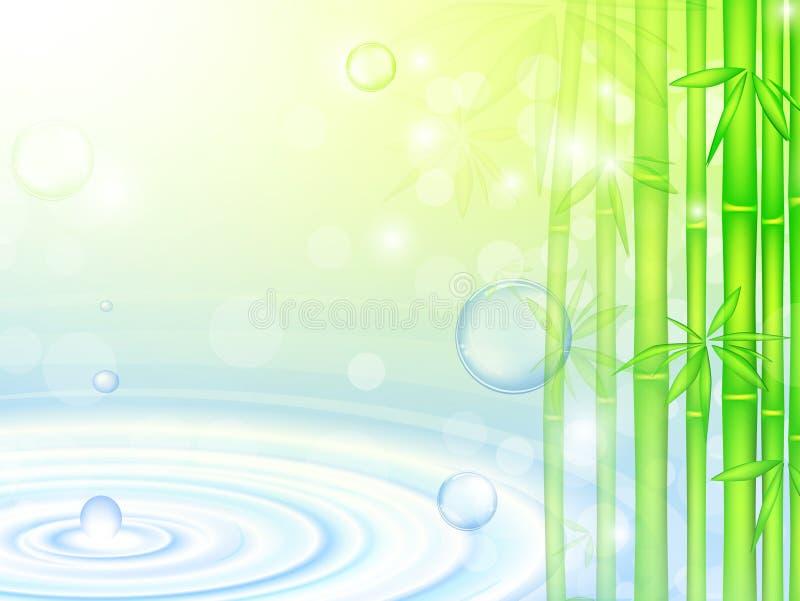 Água sobre o bambu ilustração stock