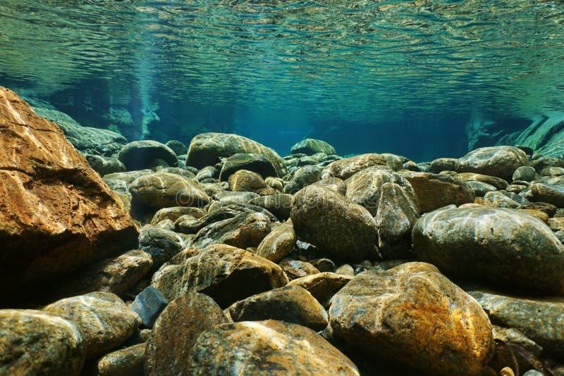 Água subaquática do espaço livre do leito fluvial das rochas do rio foto de stock