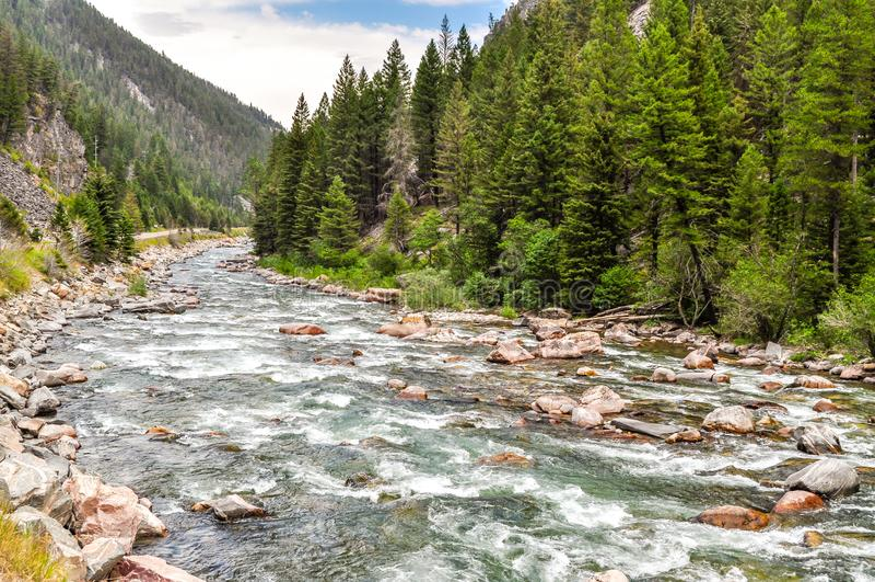 Águas de pressa do rio do Gallatin foto de stock royalty free