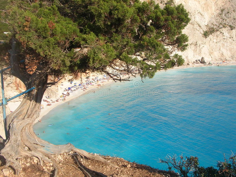 Praia de Porto Katsiki - Lefkada - Greece fotografia de stock