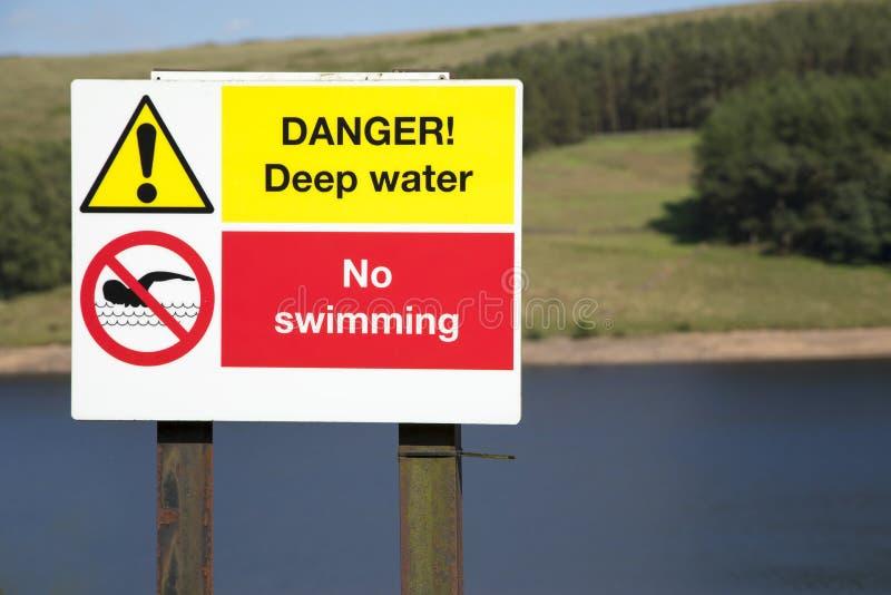 Águas profundas do perigo nenhum sinal da natação fotos de stock royalty free
