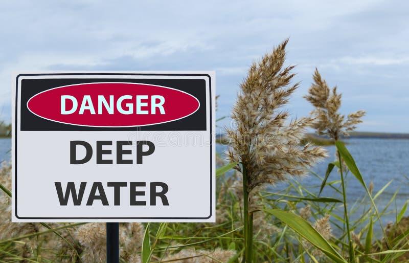 Águas profundas do perigo do sinal na costa do reservatório foto de stock royalty free
