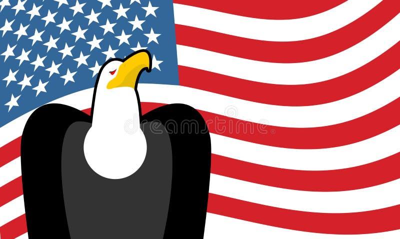 Águia americana e bandeira dos E.U. Símbolo de América ilustração royalty free