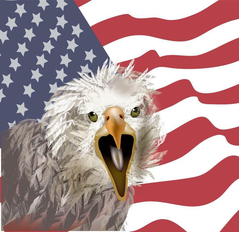 Águia americana no fundo da bandeira americana ilustração do vetor