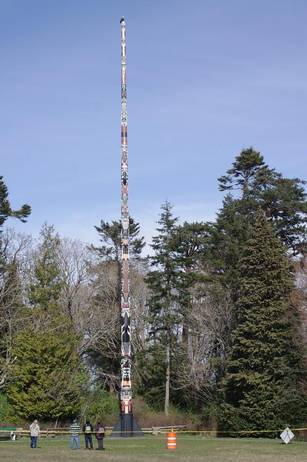 Águia americana que descansa sobre o totem autônomo o mais alto do mundo imagens de stock royalty free