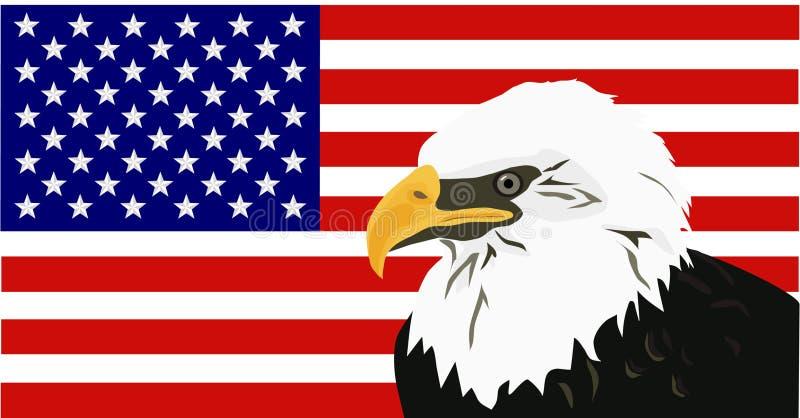 Águia calva americana com bandeira ilustração stock