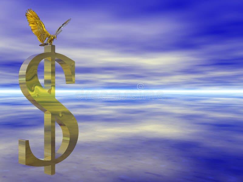 Águia calva americana no sinal de dólar. ilustração do vetor