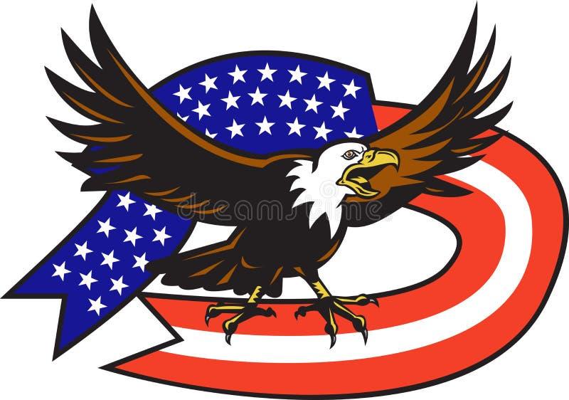 Águia calva americana que grita com bandeira dos EUA ilustração do vetor