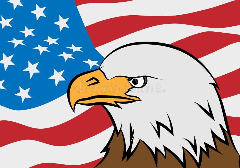 Águia calva com bandeira americana ilustração stock