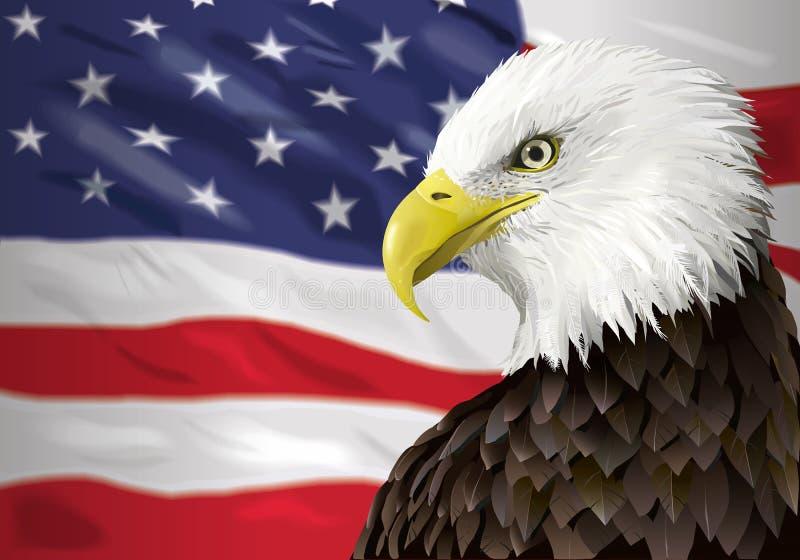Águia calva e bandeira ilustração do vetor